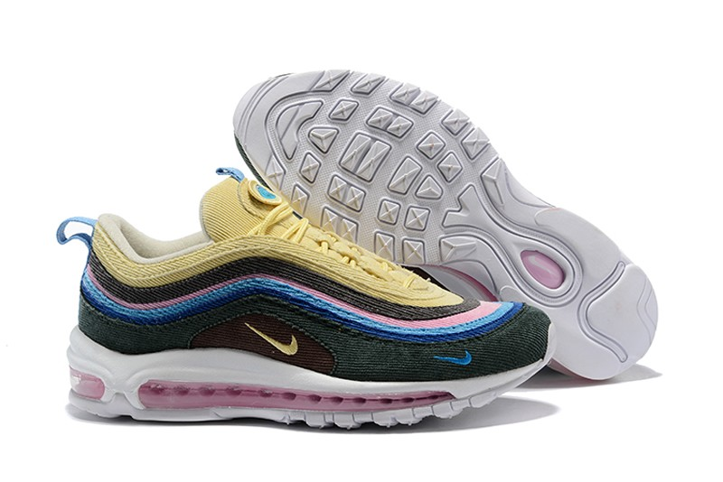 new product 19d2c 3141a 2018 New Nike Air Max 97 Sean Wotherspoon Corduroy Black/Yellow/Blue  Jogging Shoes