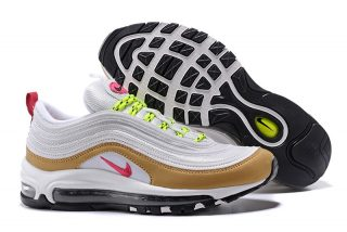5560f560aeb 312641-024 Women s Nike Air Max 97 White Gold Pink Casual Sports Shoes Hot  Sale
