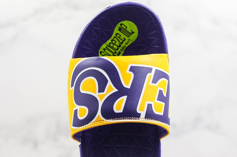 release date: b2e38 6f4ee Nike Benassi Solarsoft NBA Slides Sandals Men s Yellow Purple ...