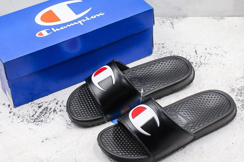 80b39f55d5433 Champion x Nike Men s-Women s Sandals 2018 New Black White Red Beach ...