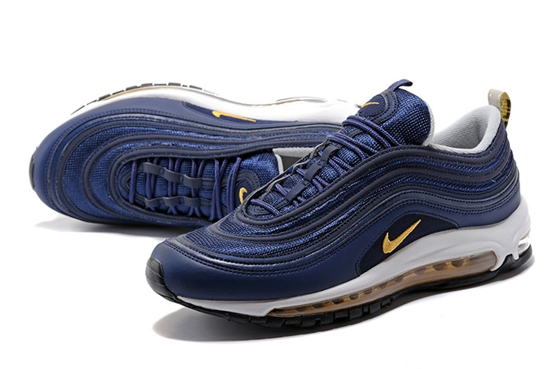 the best attitude 4d094 e948b ... Discount Nike Air Max 97 Men s Running Shoes 921826-400 Navy Blue  Metallic Gold ...