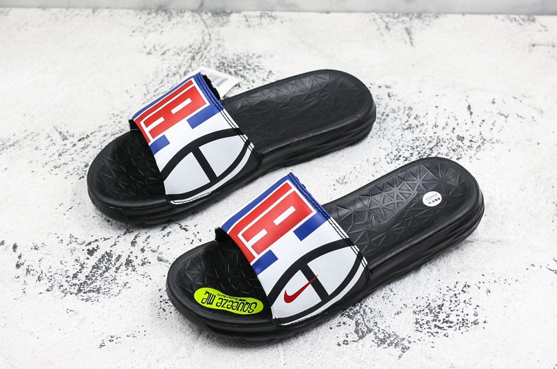 32cb6d7ed78 Most Popular Nike Benassi Solarsoft NBA Slides Sandals Men s White Blue Red  Slippers