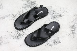 hot sale online 75431 f2540 New Arrival Men's Nike Air Force ACG Sandals Black/White Natural Leather  Slippers