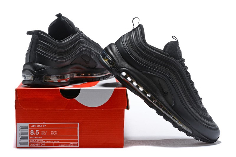 Nike Air Max 97 Premium Black Gold Men s Running Shoes AA3985-001 ... 2e86c6a5a