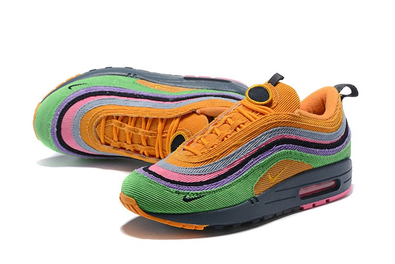 new style 4216c 0e671 Nike Air Max 97 Sean Wotherspoon AJ4219-407 Corduroy Rainbow Jogging Shoes  Discount