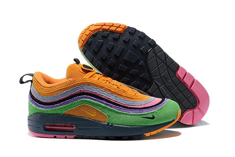 4dc2b5471c9 Nike Air Max 97 Sean Wotherspoon AJ4219-407 Corduroy Rainbow Jogging Shoes  Discount