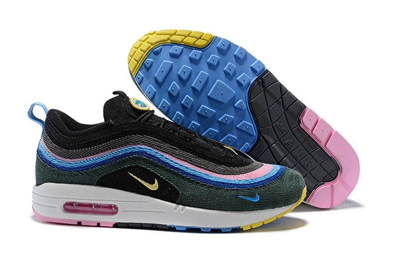 watch f97e1 cec1a Nike Air Max 97 Sean Wotherspoon Corduroy Black/Blue/Pink 2018 Newest  Jogging Shoes