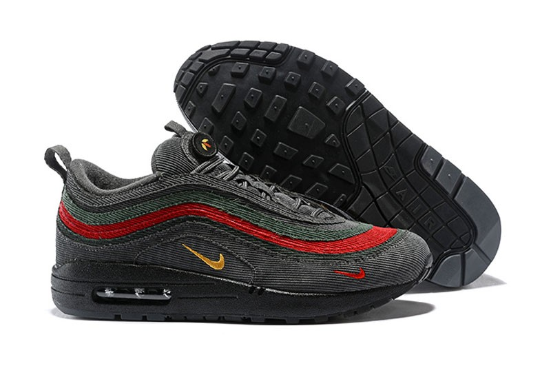 21bc9579f8 Nike Air Max 97 Sean Wotherspoon Corduroy Black/Red/Green Jogging ...
