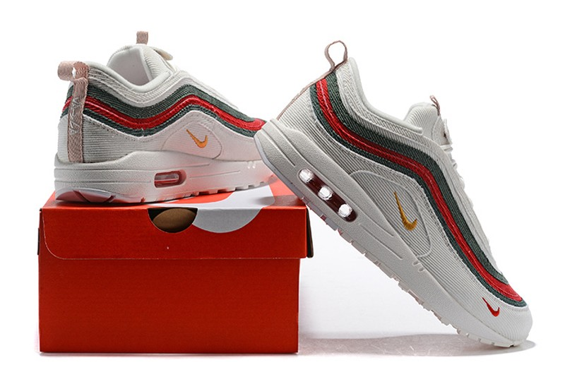 18d20074936 Nike Air Max 97 Sean Wotherspoon Corduroy White Green Red Jogging ...