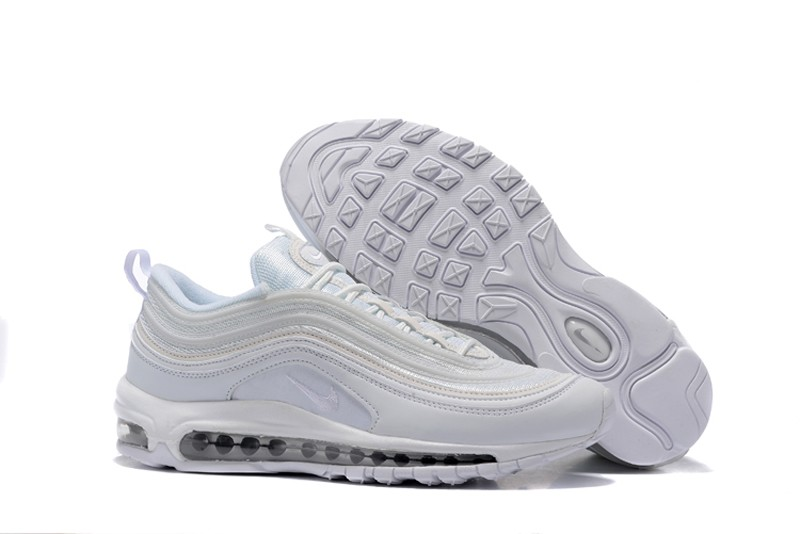 designer fashion aead1 289a0 Nike Air Max 97 Triple White Men's Fashion Running Shoes 312641-004 Free  Shipping