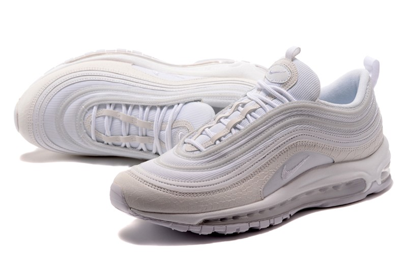 huge selection of 3005f b16ca Nike Air Max 97 White/Beige Crocodile Leather Men's-Women's Running Shoes  Hot Sale