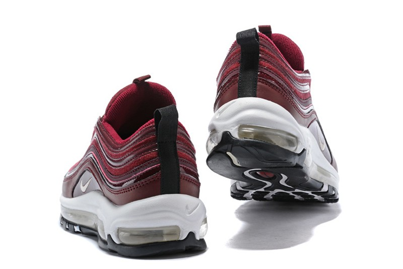 Popular Women s Nike Air Max 97 Wine Red White Latest Style Running ... a3d3117dc