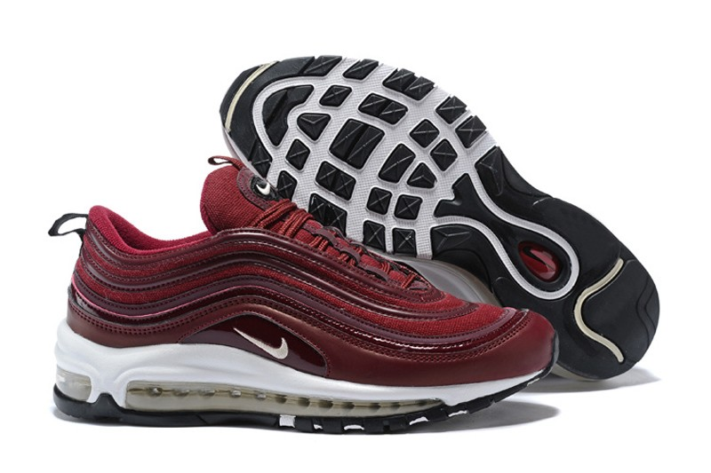 Popular Women's Nike Air Max 97 Wine RedWhite Latest Style Running Shoes In Stock