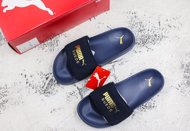 f37d4b413d5 Puma Leadcat Suede Sandals Hot Stamping Neutral Dark Blue Slippers ...