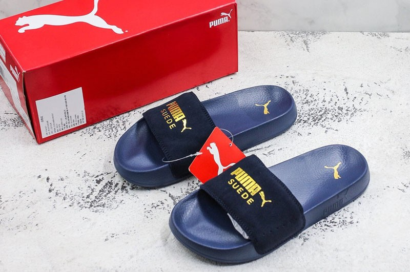 c8330fc433c Puma Leadcat Suede Sandals Hot Stamping Neutral Dark Blue Slippers  365758-02 Online