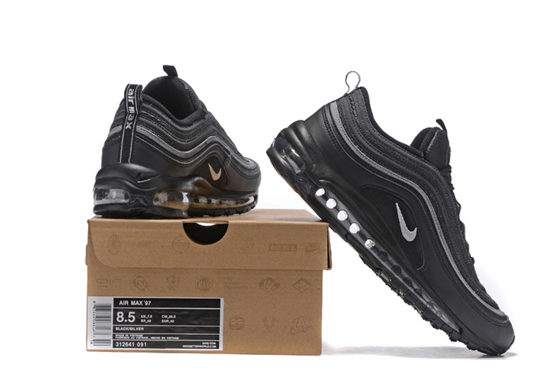 ae7bed594eb Top Quality 921733-001 Men s Nike Air Max 97 Triple Black Grey Running Shoes