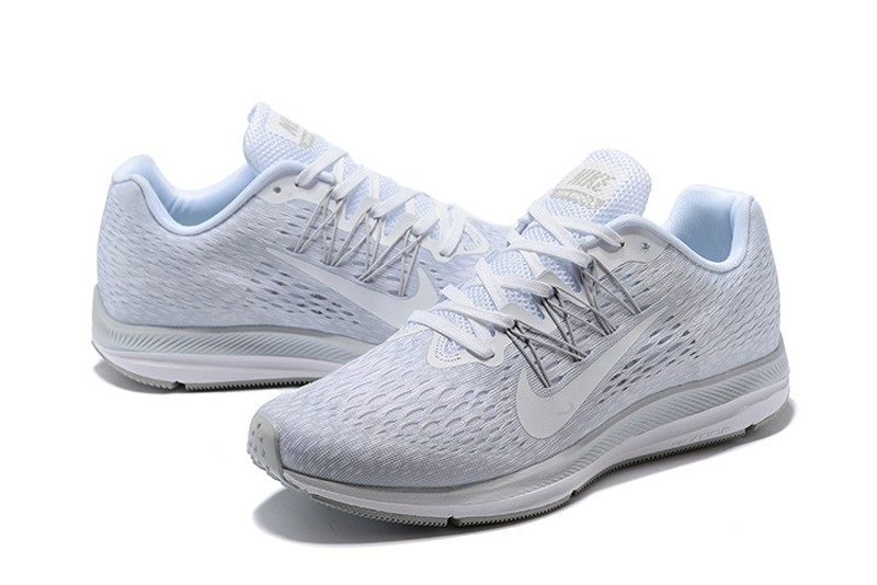 044efe8a9794 Hot Selling Nike Air Zoom Winflo 5 Men s All White Breathable Running Shoes  ...