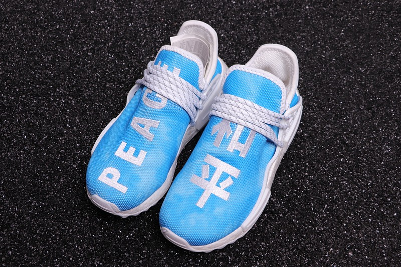 official photos 30733 18035 New Style Pharrell X Adidas NMD Hu China Exclusive Peace Blue Running Shoes  F99763