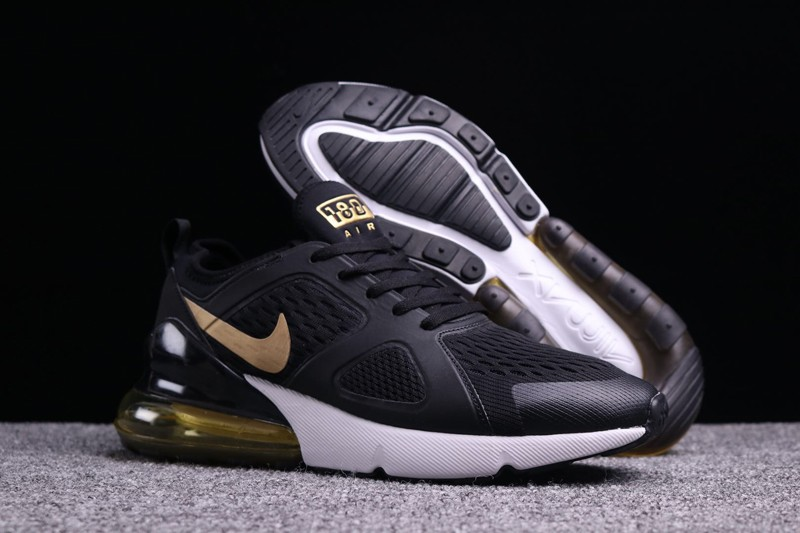 new products 47a26 1ddfb New This Year Nike Air Max 270 Black/Gold Men's Cushioning Running Shoes  Hot Sale