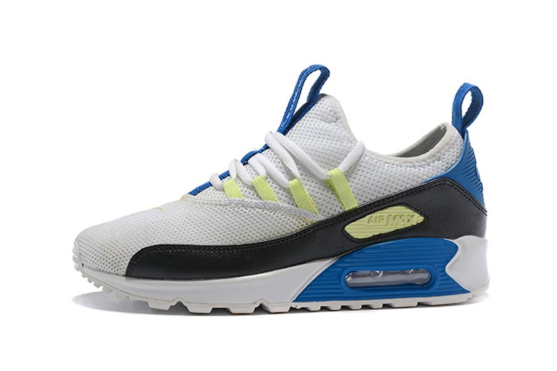 best loved 46107 e2a64 New This Year Nike Air Max 90 EZ White/Black-Blue-Yellow Men's Fashion  Running Shoes