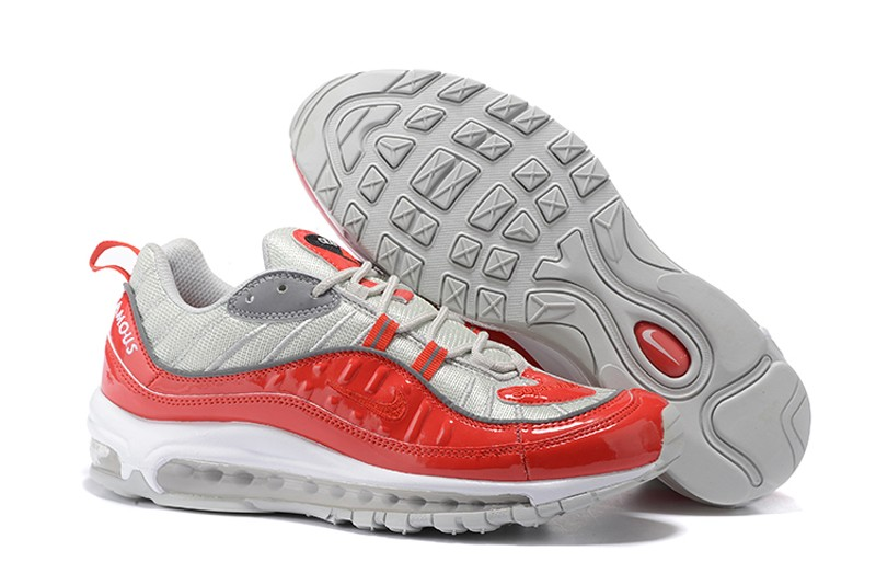 Nike Air Max 98 x Supreme Red Silver Cushioning Running Shoes 844694-600 ... 59abe253f