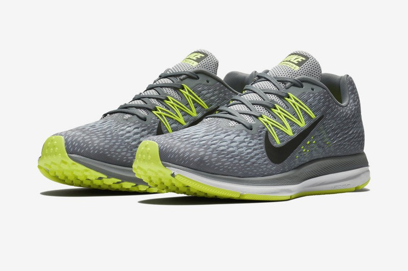 reputable site ad559 5f41c Nike Air Zoom Winflo 5 AA7406-011 Men's Cool Grey/Vlot-Green Running Shoes  In Stock
