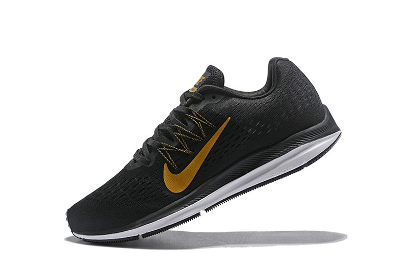 d1d485b108bf7 Nike Air Zoom Winflo 5 Men's Black Gold New Arrival Breathable Running Shoes  ...