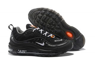 33b78e24f49579 Off-White x Nike Air Max 98 Black White-Orange Running Shoes 640744 ...