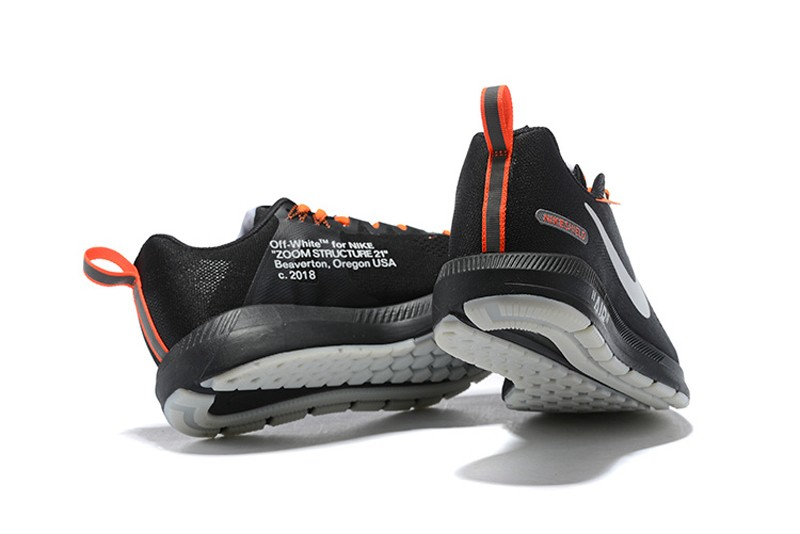 brand new b94fd 0973d Off-White x Nike Air Zoom Structure 21 Black/Orange Men's Running Shoes  907324-008