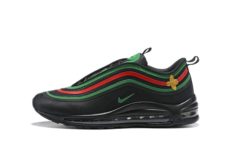 Top Quality Nike Air Max 97 Black Green-Red Men s Breathable Running Shoes 8cb4a60eb