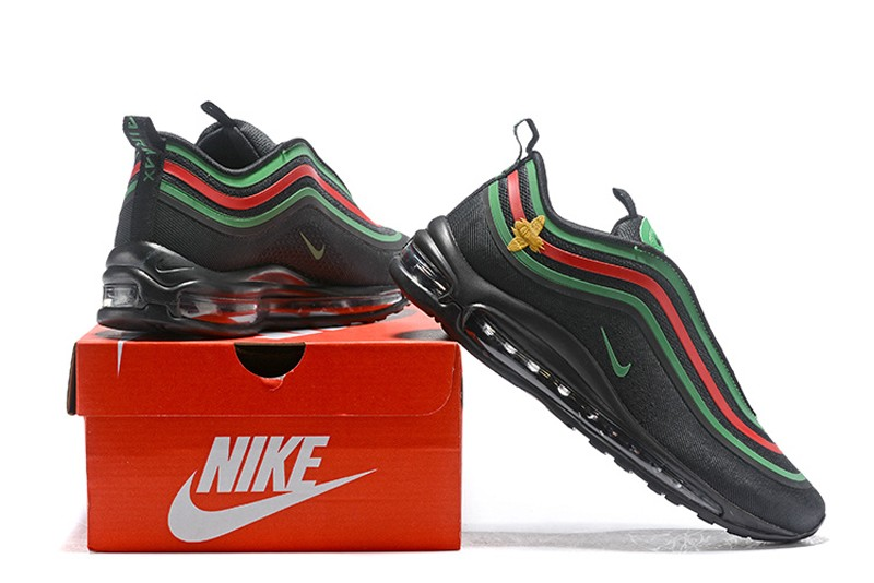 1ec1c66fa0 Top Quality Nike Air Max 97 Black/Green-Red Men's Breathable Running ...
