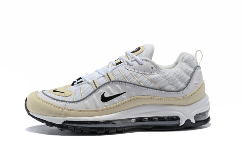 504f88733f4bc8 Top Quality Nike Air Max 98 Fossil White-Black Silver Neutral Running Shoes  AH6799-102