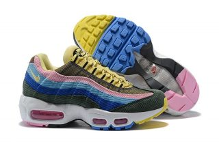 """2018 Nike Air Max 95 """"White Dark Blue-Yellow-Gym Red"""" Men s-Women s New  Style Running Shoes ba5d48262"""