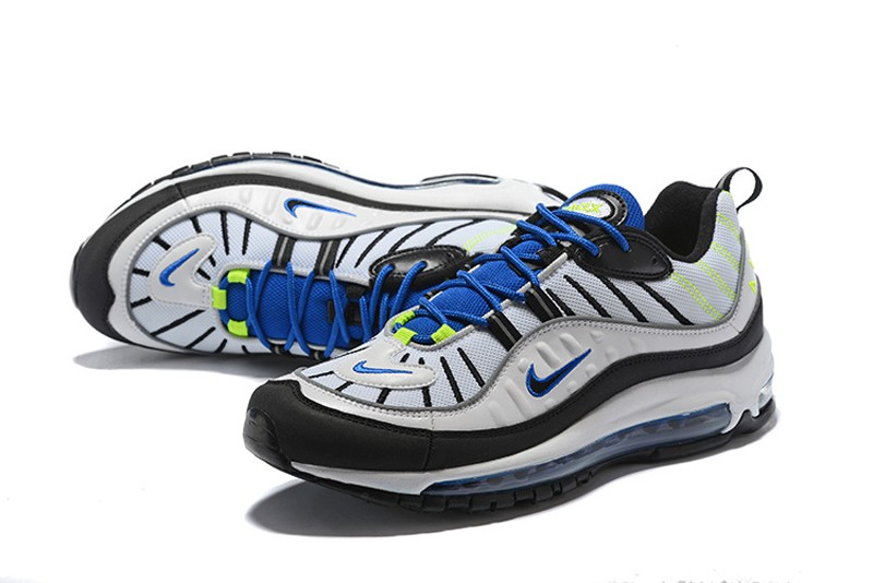 ever popular really cheap size 7 Cheap Price Nike Air Max 98 White/Black-Racer Blue-Volt ...