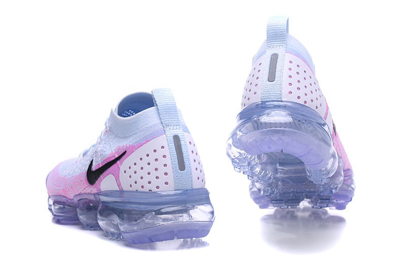 ad84b46f795 Delicate Nike Air VaporMax Flyknit 2.0 White Hydrogen Blue-Pink Wmns Running  Shoes 942843-102