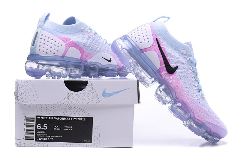 best cheap 82e48 901d5 Delicate Nike Air VaporMax Flyknit 2.0 White/Hydrogen Blue-Pink Wmns  Running Shoes 942843-102