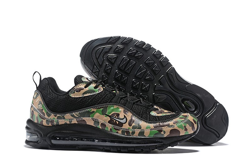 18ab72df017 High Quality Nike Air Max 98 Black Green-Camouflage Men s Sneakers Running  Shoes ...