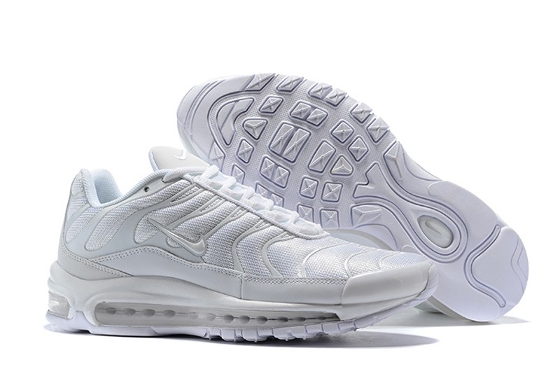 Men s Nike Air Max 97 Plus Running Shoes All White 2018 Year New ... 2b0645d3a