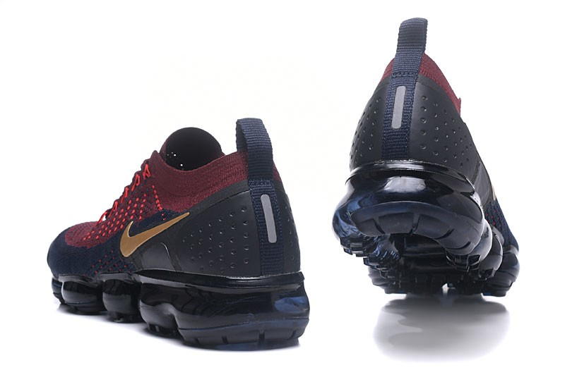 the latest b56c2 d6af9 Mens Size Nike Air VaporMax Flyknit 2.0 Burgundy/Gold-Navy Blue Running  Shoes 942842-601