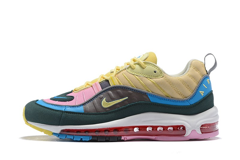 3600543b7a83 New Release Nike Air Max 98 Dark Blue Pink-Yellow Men s Sneakers ...