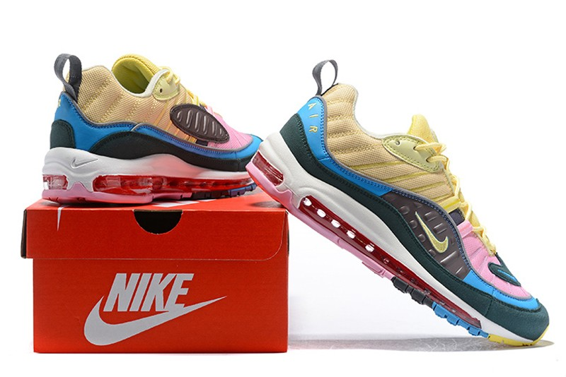 def60e29cd8b New Release Nike Air Max 98 Dark Blue Pink-Yellow Men s Sneakers Running  Shoes