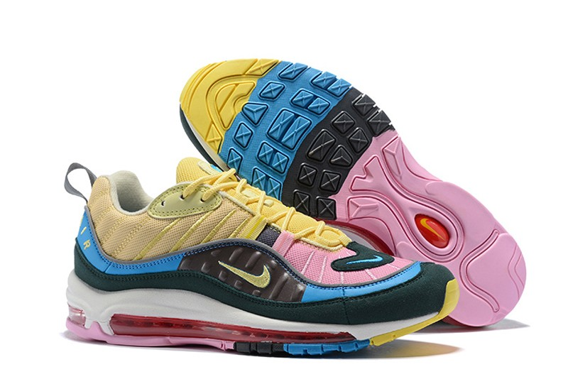 innovative design d6891 313d3 New Release Nike Air Max 98 Dark Blue/Pink-Yellow Men's Sneakers Running  Shoes