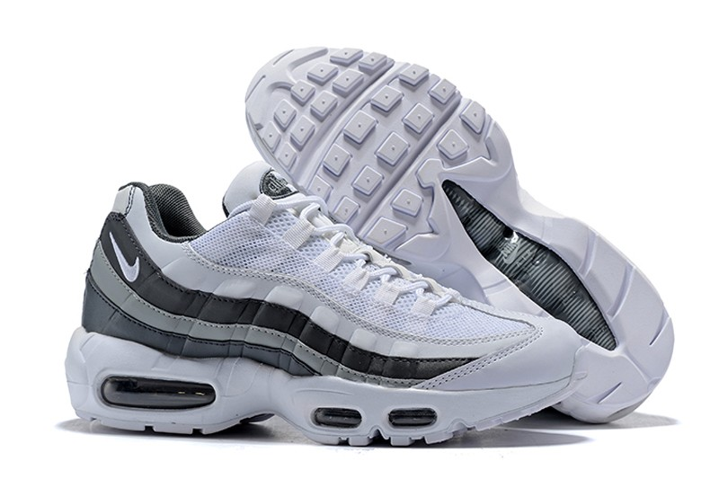 buy online 2a6b2 f44f4 Nike Air Max 95 749766-105 Men's White/Black-Wolf Grey 2018 New Arrival  Running Shoes