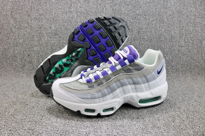 new style 9e957 89fa5 Nike Air Max 95 Women's White/Court Purple-Emerald Green-Wolf Grey Running  Shoes 307960-101