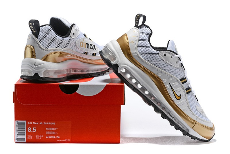 c76033afea3 Nike Air Max 98 UK Men s Running Shoes White Gold AJ6302-100 ...