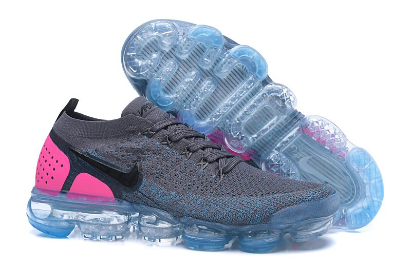 bf3506acec567 Nike Air VaporMax Flyknit 2.0 942843-004 Gunsmoke Blue Orbit-Pink Blast  Running Shoes ...