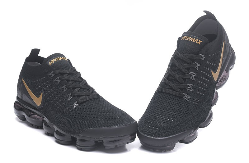 822a3f103af Nike Air VaporMax Flyknit 2.0 Black Metallic Gold Men s Running Shoes ...