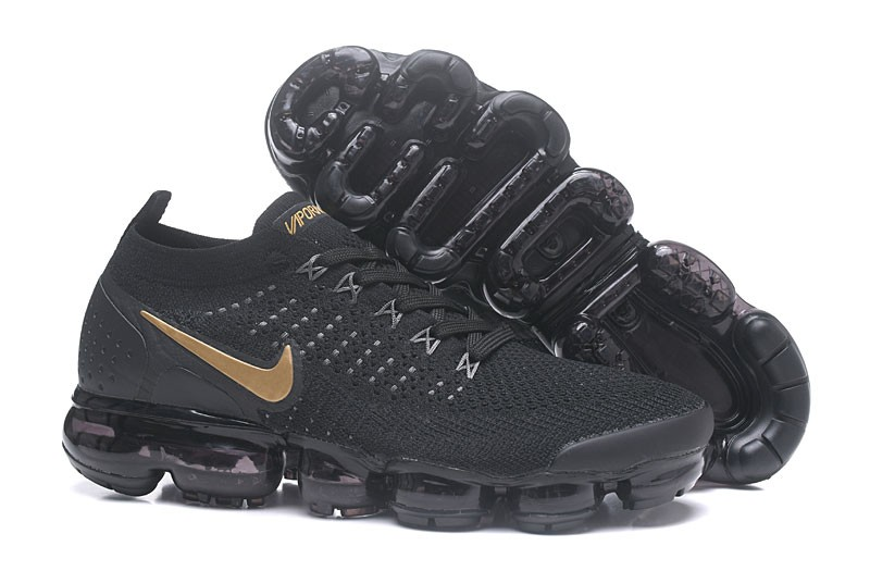 a4561c0d34588 Nike Air VaporMax Flyknit 2.0 Black Metallic Gold Men s Running Shoes ...