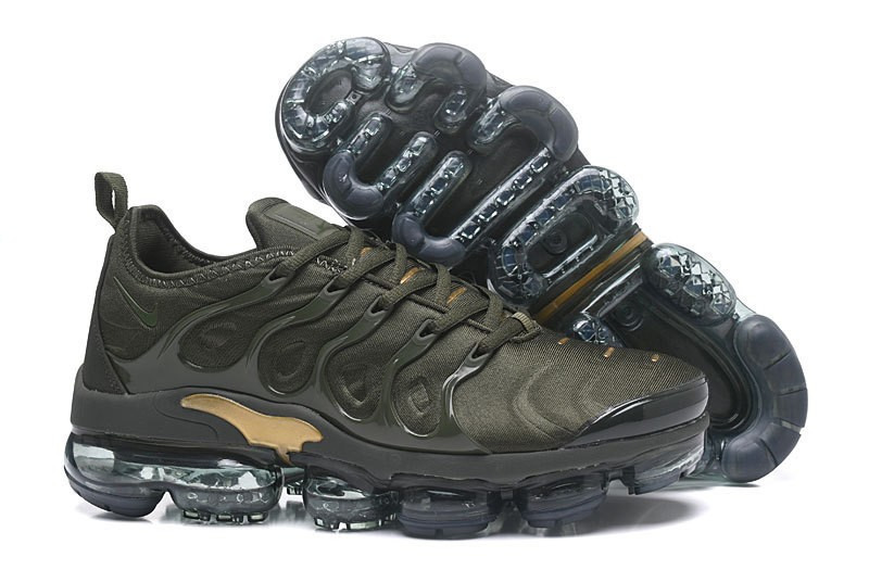 hot sale online 27d4c fd9e0 Nike Air Vapormax Plus Tn Men's Army Green/Metallic Gold Running Shoes Hot  Selling