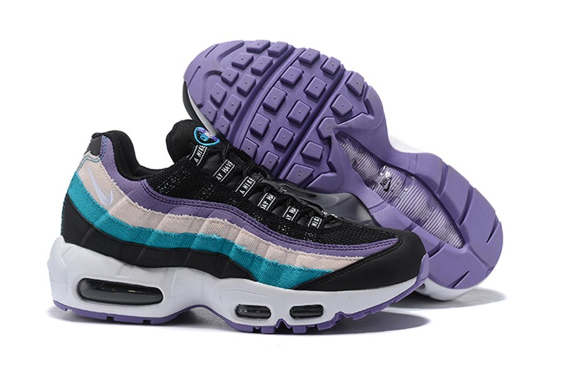 quality design b8506 8a58c 2018 Newest Nike Air Max 95 Women's Black/Purple-Blue-Beige Running Shoes  ...